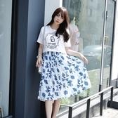 吊帶裙(套裝)-短袖珍珠兔子印花修身女背帶裙73nj33【巴黎精品】