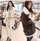 羊羔毛棉衣女中長款大碼韓版冬季寬鬆機車外套鹿皮絨棉服 萬客居