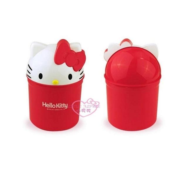 小花花日本精品Hello Kitty 紅色 大臉造型 掀蓋式 居家/車用 垃圾桶 置物桶 雜物桶 12054305