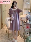 睡衣女夏季薄款短袖睡裙純棉可愛孕婦寬鬆網紅爆款春秋家居服小熊 童趣屋