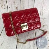 BRAND楓月 Christian Dior 迪奧 經典款 紅色漆皮 Lady Dior 小鍊包 斜背包 WOC