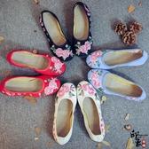 小清新古風刺繡繡花鞋民族風漢服搭配布鞋廣場舞蹈鞋女單鞋子