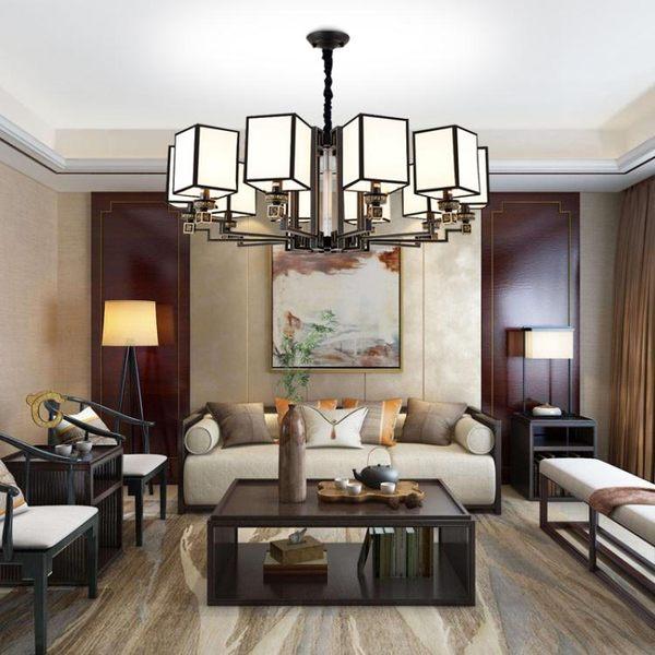 新中式吊燈客廳燈簡約現代家用大氣中國風禪意別墅書房餐廳燈具 220vNMS街頭潮人