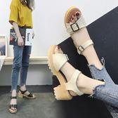 港風涼鞋女學生夏2018新款百搭粗跟韓版少女小清新高跟鞋中跟露趾