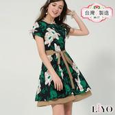LIYO理優MIT印花雙層傘襬洋裝E726026