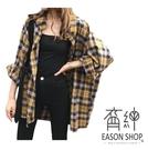 EASON SHOP(GW3515)韓版復古撞色格紋磨毛前短後長薄款前排釦長袖襯衫外套女上衣服寬鬆防曬衫空調衫