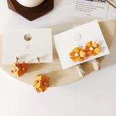 耳環 花朵 不對稱 吊墜 大理石紋 後掛式 可愛 甜美 耳環【DD1903178】 icoca  05/09