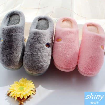【X024】shiny藍格子-舒適暖暖.冬季居家男女保暖毛絨情侶室內拖鞋