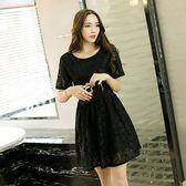 ★韓美姬★中大尺碼~甜美V領蕾絲短袖洋裝(4XL)