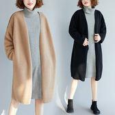 外套【K246】FEELNET中大尺碼女裝2018秋裝韓版中長款鹿皮絨加厚開衫長袖外套 均碼