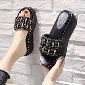 拖鞋女外穿ins潮2020年新款夏高跟涼拖網紅涼鞋松糕厚底坡跟時尚 【中秋節】