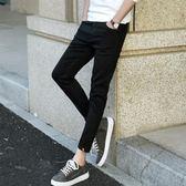 中大尺碼 夏季牛仔褲男士小腳黑色九分修身韓版潮 KB1217【每日三C】