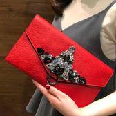 歐美鑲鑚宴會包時尚定型名媛信封包單肩小包