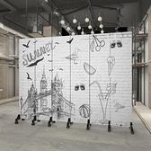 定制屏風隔斷牆復古懷舊酒吧餐廳飯店包間布藝雙面遮擋摺疊行動ATF 艾瑞斯居家生活