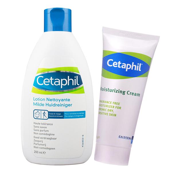 【Cetaphil舒特膚】換季保養修護保濕組(溫和潔膚乳200ml+長效潤膚霜100g)