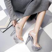 涼鞋 高跟涼鞋性感14cm防水臺透明細跟涼鞋 巴黎春天