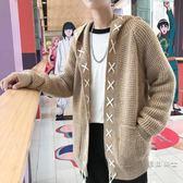 (萬聖節)連帽男士開衫毛衣新款潮牌寬鬆毛衣秋季正韓潮外套港風休閒上衣男