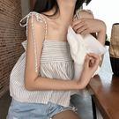 (全館一件免運)DE SHOP~(T-9316)綁帶藍白條紋吊帶短款寬鬆小背心襯衫