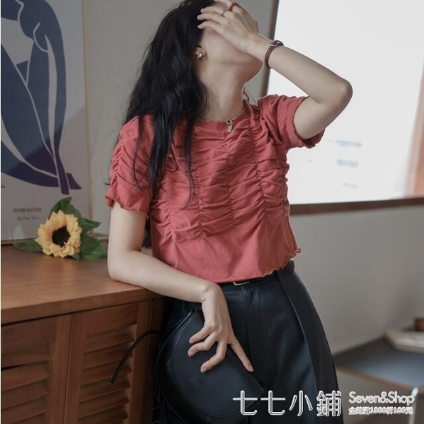 歐陽喜港風復古圓領短袖t恤女2021新款木耳邊摺皺短款設計感上衣
