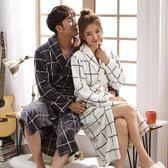 睡袍女士秋冬季珊瑚絨男士睡衣加厚加長款浴衣性感法蘭絨情侶浴袍  韓風物語