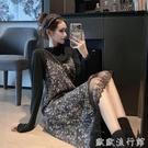 吊帶洋裝 法式復古連衣裙2021新款秋冬...