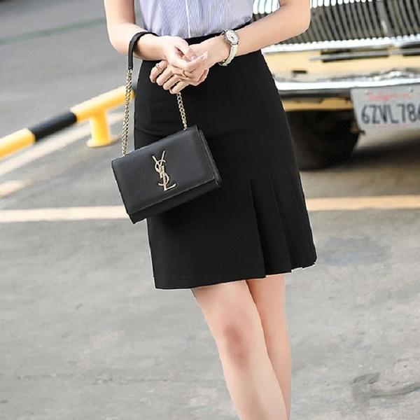 簡約下擺壓摺端莊上班/休閒及膝裙 [20X001-PF]小三衣藏-顯瘦A字裙