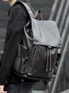 男士雙肩包商務休閒學生書包男韓版潮流大容量旅行背包男電腦包皮 夢幻小鎮
