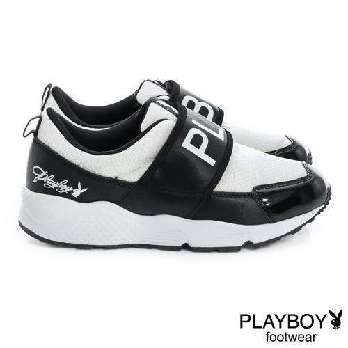 PLAYBOY 黑白潮流 PB寬版帶休閒鞋-黑白(女)