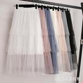 2020流行夏季蛋糕半身裙高腰白色中長款百褶裙a字仙女網紗裙長裙 LR24879『3C環球數位館』