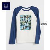 Gap男童 時尚趣味印花休閒長袖圓領T恤 370673-光感亮白