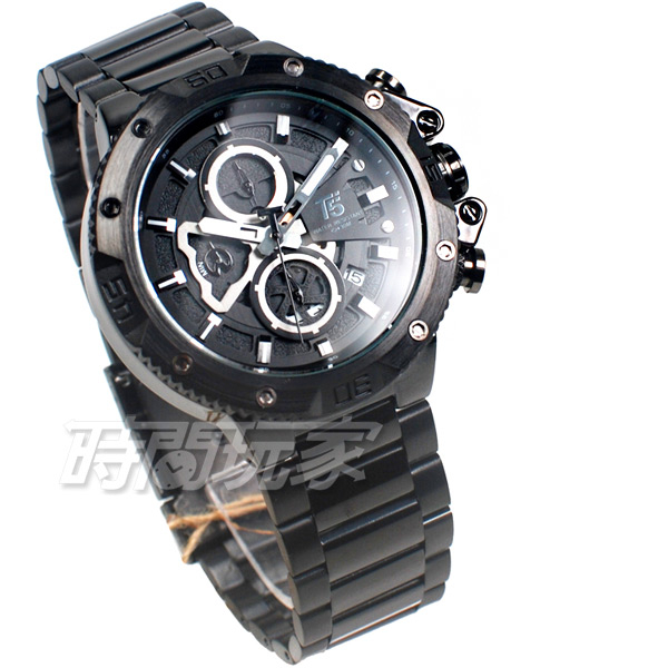 T5 sports time 三眼大錶徑 個性 潮男 學生錶 防水手錶 日期視窗 IP黑 H3705黑