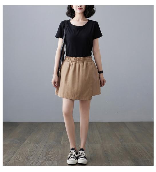 【YOUNGBABY中大碼】前一片裙口袋鬆緊褲裙短褲.黑/卡其