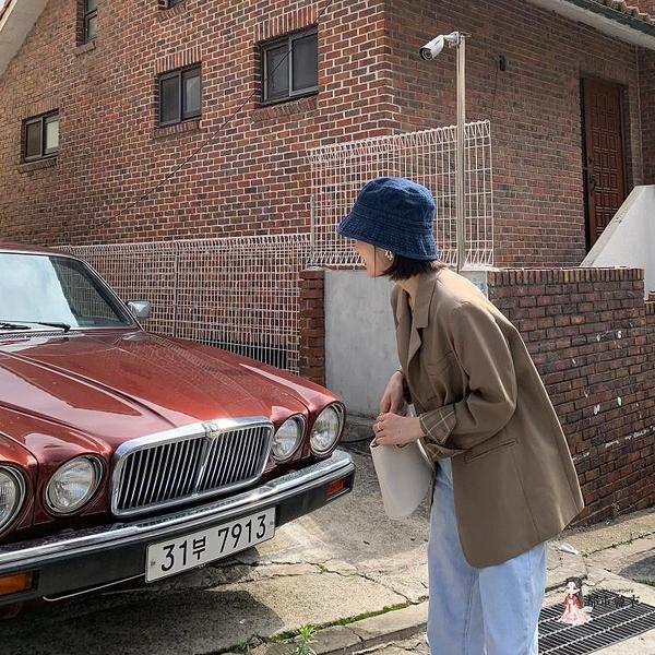 牛仔帽 日系牛仔漁夫帽女春秋休閒百搭時尚韓版潮秋季藍色盆帽水桶帽 2色
