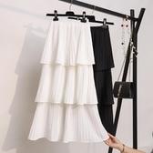 超仙層層蛋糕裙半身裙女春夏韓版雪紡白色學生新款百褶中長裙 黛尼時尚精品