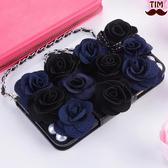 送吊飾 蘋果 iPhone X 8 7 6 Plus 黑玫瑰系列 皮套 碎花 韓系 手機殼 插卡 軟殼 保護套