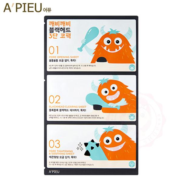 韓國 APIEU 怪獸敲敲黑頭粉刺清潔面膜三部曲 粉刺貼 清除粉刺(3g+0.2g+3g)【庫奇小舖】