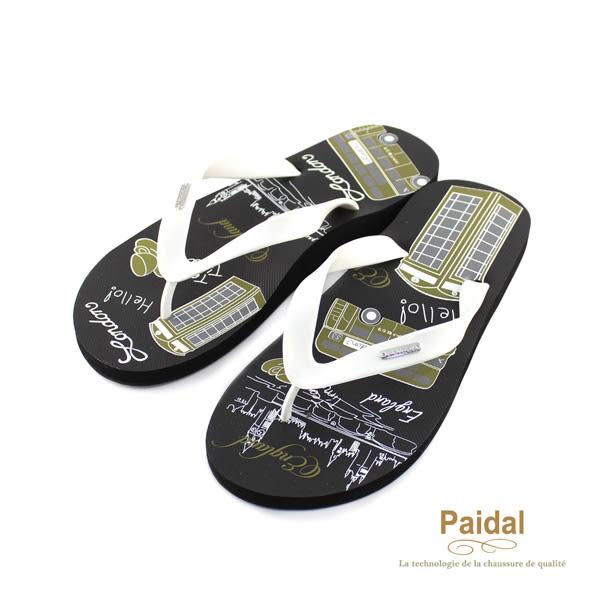Paidal 男款塗鴉風倫敦遊夾腳拖鞋海灘拖鞋-黑