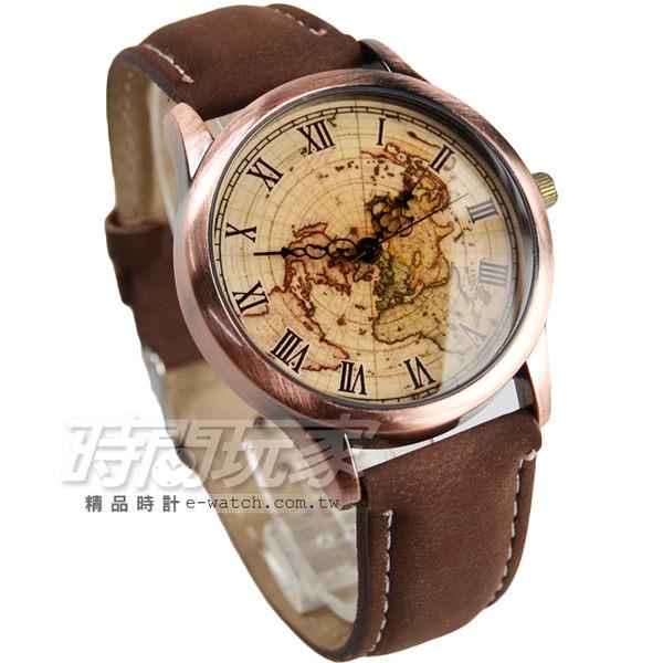 尋寶地圖羅馬時刻設計 古銅色電鍍 防水流行 皮革錶帶 漸層 女錶 防水手錶 復古復刻 E9124咖