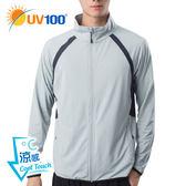 UV100 防曬 抗UV-涼感透氣機能立領外套-男