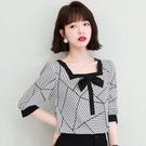 VK精品服飾 韓系優雅襯衫方領蝴蝶結幾何圖騰單品短袖上衣