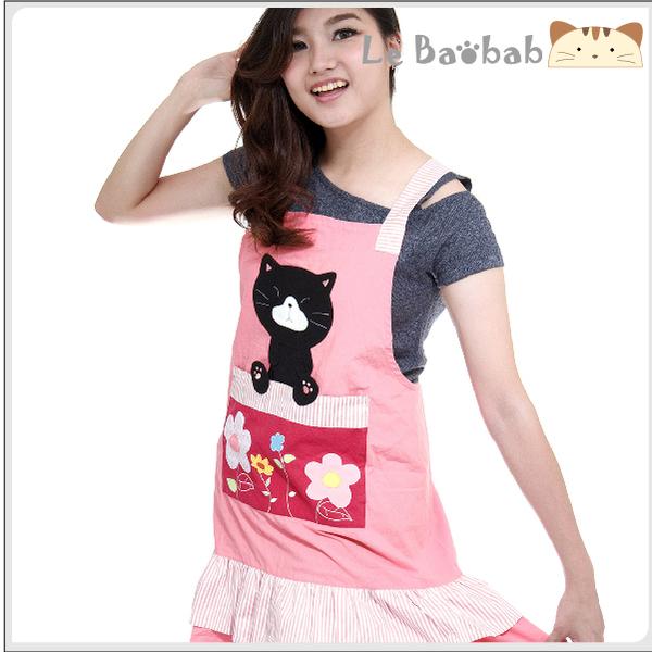圍裙~Le Baobab日系貓咪包 啵啵貓粉紅小花荷葉邊圍裙/拼布包包