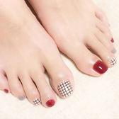~現貨~NC745 顯腳白的米+紅細格 短款美甲貼片 腳趾甲成品24片