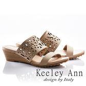 ★2018春夏★Keeley Ann民族風情~幾何鏤空寬版全真皮楔形拖鞋(卡其色)
