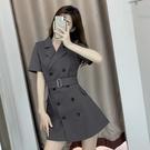 VK精品服飾 韓國風名媛修身氣質雙排釦西裝領短袖洋裝