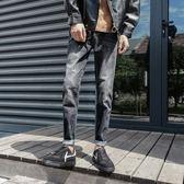 黑色牛仔褲男士正韓潮流修身小腳青少年寬鬆直筒九分褲牛子褲 【快速出貨】
