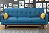 【振鴻家具】凱薩琳北歐藍色三人座沙發床 布面沙發床