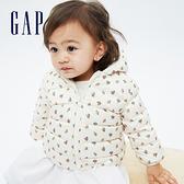 Gap嬰兒 布萊納系列 可愛熊耳刷毛連帽羽絨外套 703923-象牙白