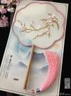 中國風刺繡花真絲團扇圓形宮扇女式長柄古代宮廷漢服拍照舞蹈扇子 元旦狂歡購