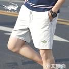 鱷魚2021夏季白色彈力四分沙灘短褲男外穿舒適五分褲潮流休閒中褲 小艾新品