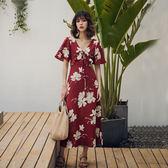 $399出清專區 歐美風原創復古印花度假短袖洋裝